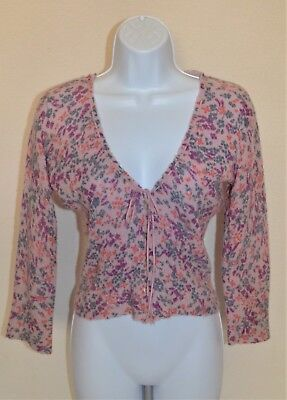 Free People Wool Blend 3/4 Sleeve Cropped Cardigan Sweater Size M Floral
