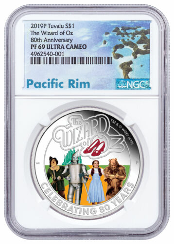 2019 P Tuvalu Wizard of Oz 1 oz Silver Colorized Proof $1 NGC PF69 UC SKU57827