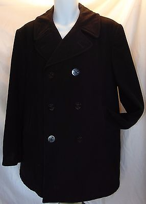 Authentic Issue USN Navy Peacoat 100% Wool Black Size M (42) Made in USA VGC for sale  Eugene