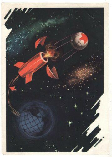 1964 Space Lunar Research Cosmos Rocket Sputnik Murzilka Old Russian postcard