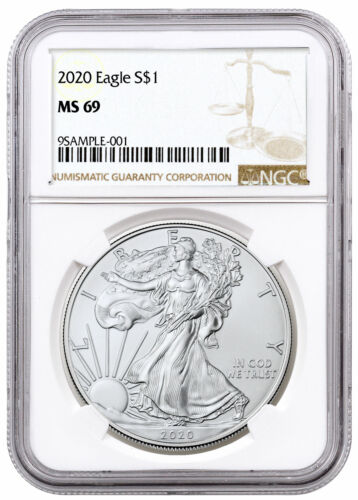 2020 1 oz American Silver Eagle $1 Coin NGC MS69 Brown Label SKU59444