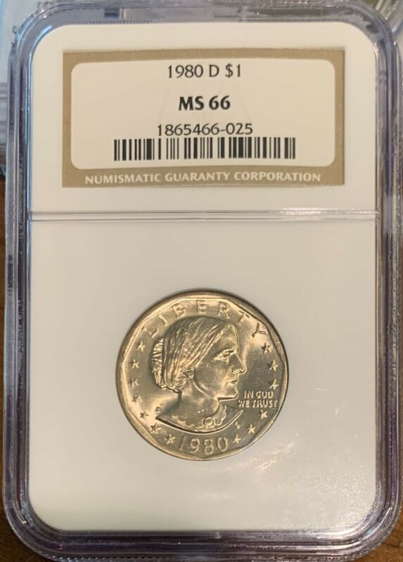 1980-D SBA $1 Susan B. Anthony Dollar GRADED BY NGC MS-66