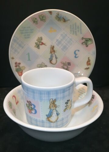 Vintage Peter Rabbit Child Bowl Cup Plate Set Wedgwood Frederick Warne