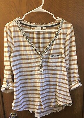Anthropologie Post Mark Postage Stamp Striped Shirt Large Cotton