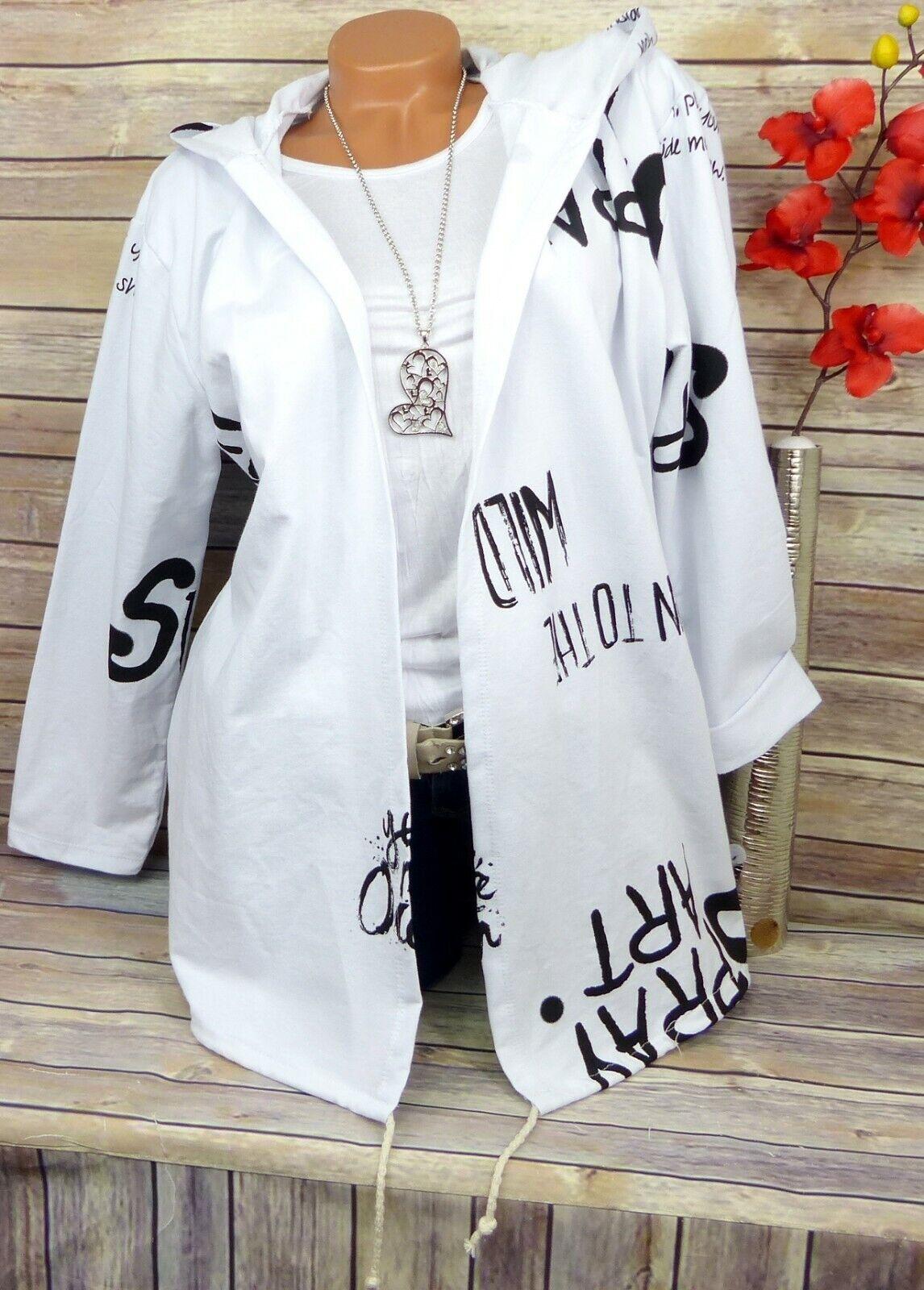 Jacke Tunika Bluse Blusenjacke Shirt Lagenlook Longshirt Kapuze Weiß BW 44 46