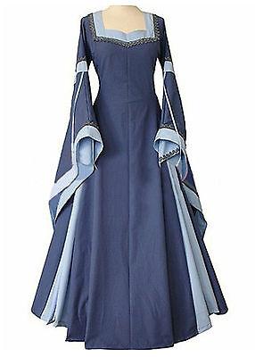 New Blue Medieval Renaissance Long Trumpet Sleeve Dress Corset Back 14 16 18 XL