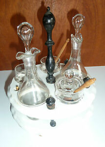 ancien ensemble condiments vinaigrier huilier moutarde old french glass ebay. Black Bedroom Furniture Sets. Home Design Ideas