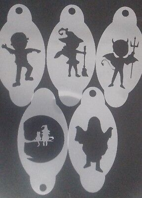 5 x Halloween face painting stencils reusable over & over devil witch ghost cat  - Face Painting Devil Halloween