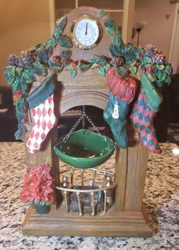 "EUC Yankee Candle 12"" Christmas FIREPLACE MANTLE w/ Hanging Wax Tart Warmer Rare"