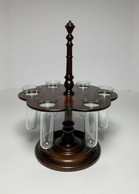 Antique APOTHECARY SCIENTIFIC CHEMIST TEST TUBE WOOD STAND HOLDER 19th Century
