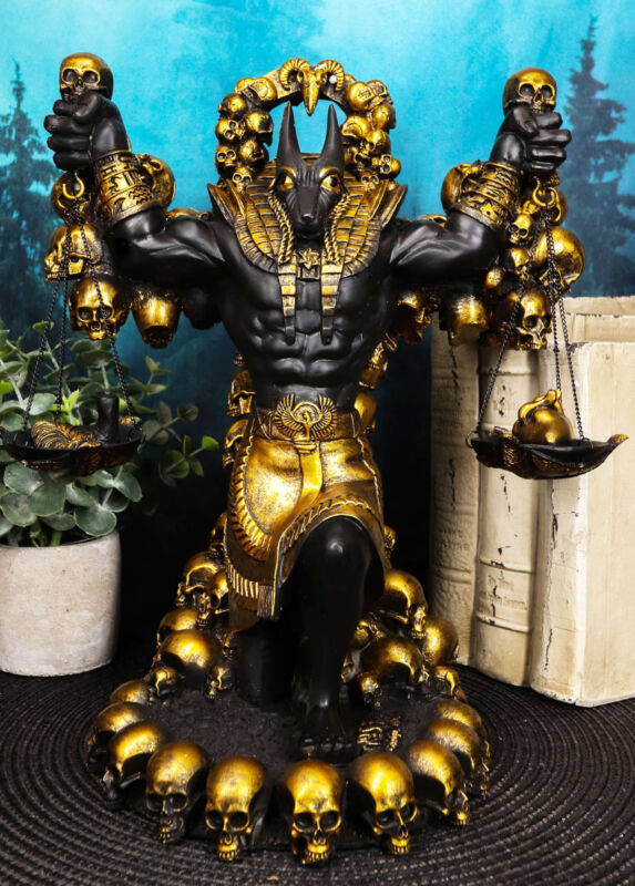 Large Ancient Egyptian God Of The Afterlife Anubis Scales Of Justice Statue