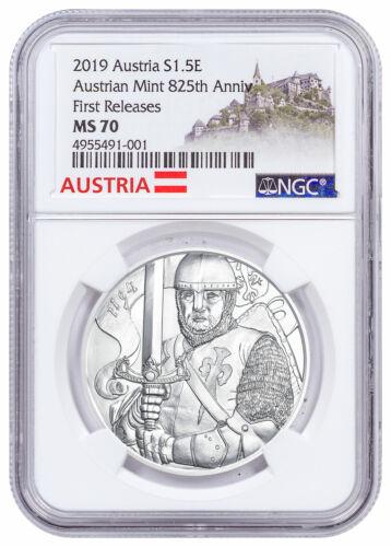 2019 Austria Silver Leopold Coin NGC MS70 FR Austria Label SKU57612