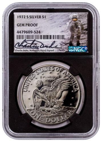 1972-S Silver Eisenhower Dollar NGC GEM Proof Charlie Duke Signed Black SKU50158