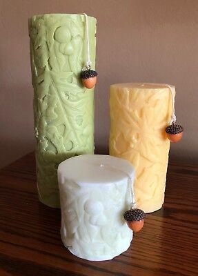 Fall Leaf Candles - Set of 3 Textured Embossed Fall Leaf Design 3