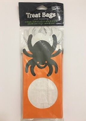 Halloween Party Treat Goodie Spider Web Window Bags 8 Count