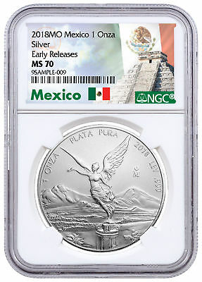 2018-Mo Mexico 1 oz. Silver Libertad Coin NGC MS70 ER Exclusive Label SKU53066