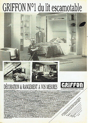 Publicité advertising 127  1991  lit escamotable griffon décorations ameublement