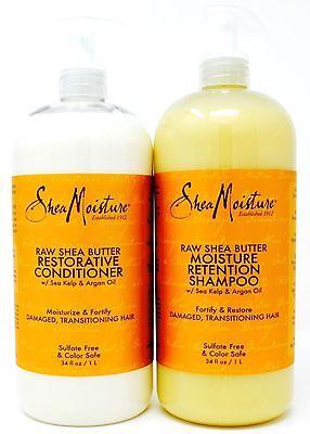 Shea Moisture Raw Shea Butter Shampoo or Conditioner Sea Kelp Argan Oil 34 FL -