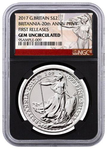 2017 Britain 1oz Silver Britannia Trident Privy £2 NGC GEM UNC FR Black SKU46499