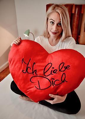 Kissen XXL Ich liebe Dich Herz - Kuschelkissen Deko Geschenkidee Valentinstag  (Valentinstag Dekoration Ideen)