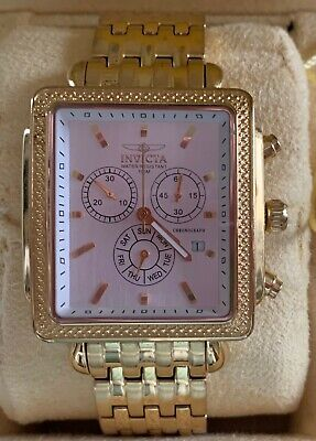 Invicta Men's Square Gold-Tone Chronograph Watch - EUC