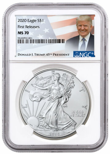 2020 1 oz American Silver Eagle $1 Coin NGC MS70 FR Trump Label SKU60474
