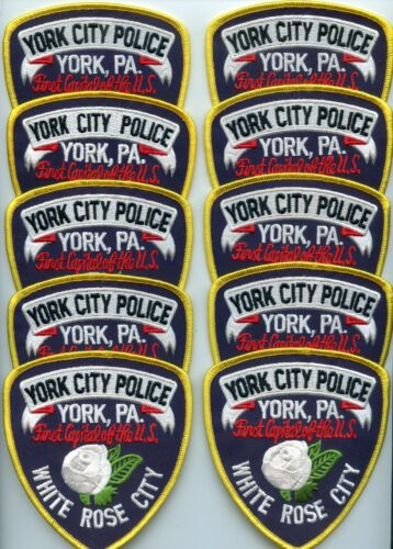 YORK CITY PENNSYLVANIA Patch Lot Trade Stock 10 Police Patches POLICE PATCH