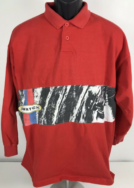 Swatch Vintage Logo Long Sleeve Red Polo Shirt Men