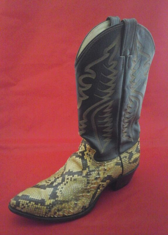 JUSTIN, Cowboy, Boots, Snake, Skin, w, Leather, Brown, Cream, USA, Made, Mens, US, 11.5, /45.5