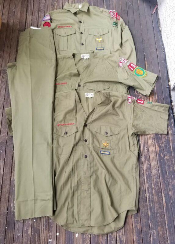 Vintage BOY SCOUTS of AMERICA Uniform 3 Shirts/1 Pants GREEN BSA Adult Regular