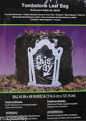 Halloween 4 This Way Tombstone Black Leaf Bags Yard Decoration 45x48 NIP - Halloween Decorations Tombstones