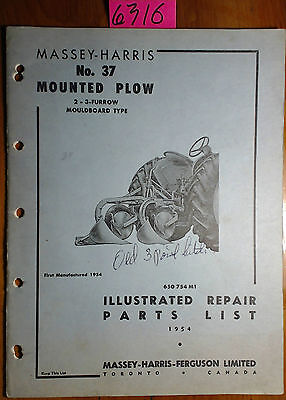Massey Harris Ferguson 37 Mounted Plow 2 3 Furrow Mouldboard Plow 1954- Manual