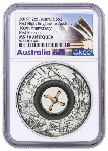 2019 Australia First Flight England Antiq 2 oz Silver $2 NGC MS70 FR SKU59113