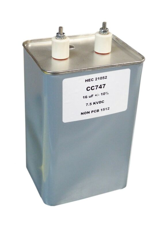 Oil Filled Capacitor 16 microfarads 7.5 KV Filter Capacitor
