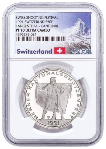 1991 Switzerland Shooting Festival Thaler Langenthal Silver NGC PF70 UC SKU48971