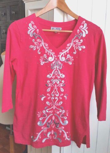 JM Collection Womens Petite Medium Shirt Rhinestone Embellished Top Dark Pink PM