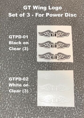 GT WING  LOGO (set of 3) for POWER DISC - choice either White or Black set
