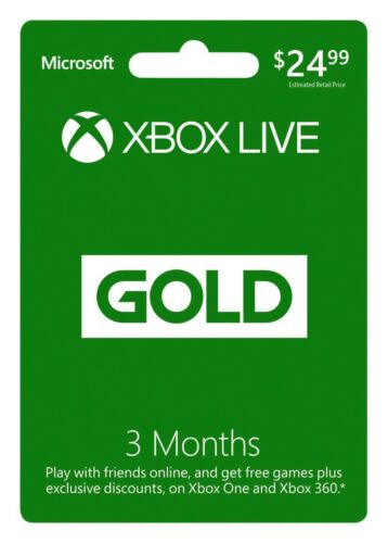 Microsoft Xbox Live 3 Month Gold Subscription Membership - NO Digital Delivery!!