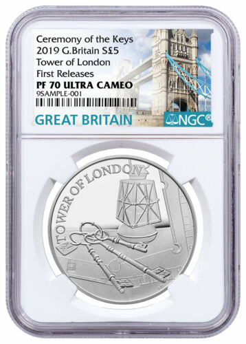 2019 Britain Tower of London The Keys Silver Proof £5 Coin NGC PF70 FR SKU59417