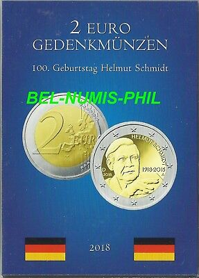 DUITSLAND II 2018 - 100e geboortejaar Helmut Schmidt - 5 x 2 Euro in POCKET -UNC