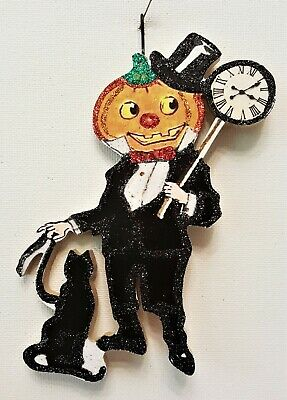 PUMPKIN MAN w BLACK CAT, CLOCK * Glitter WOOD HALLOWEEN ORNAMENT * Vtg Img