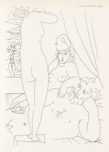 Pablo Picasso, Sculptor in Repose with Unmasked Model, Vollard Suite