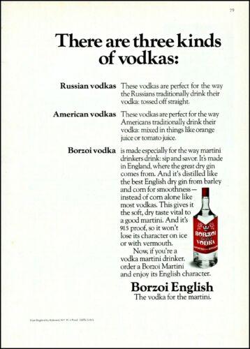 1974 Borzoi English vodka martini mixer bottle vintage photo Print Ad ads34