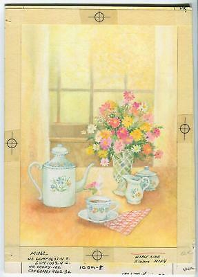 VINTAGE TEA POT CUP SUGAR CREAMER ETCHED GLASS VASE OF GARDEN FLOWERS PAINTING ()