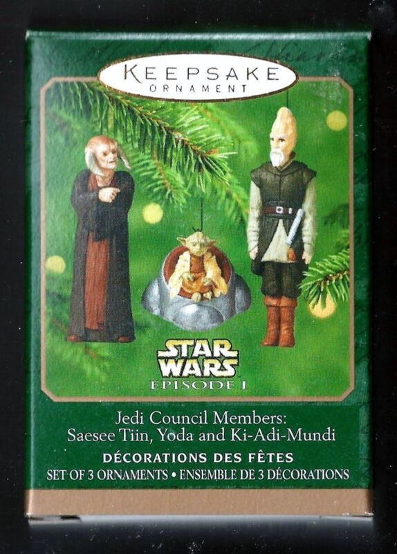 2000 Hallmark Jedi Council Members Star Wars Episode I Set of 3 New