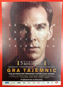 Benedict Cumberbatch - THE IMITATION GAME - Polish promo FLYER - <span itemprop=availableAtOrFrom>Gdynia, Polska</span> - Benedict Cumberbatch - THE IMITATION GAME - Polish promo FLYER - Gdynia, Polska