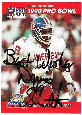 (Dennis Smith Signed Autograph Denver Broncos 1990 Pro Set Football Card #372)