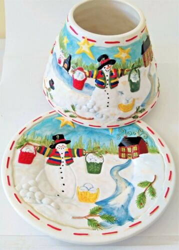 Robin Betterley  In The Meadow Snowmen Large Jar Candle Ceramic Shade and Plate