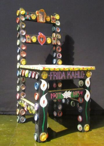 VINTAGE FRIDA KAHLO TRIBUTE DECORATIVE HANGING ART CHAIR HAND PAINTED COLLAGE