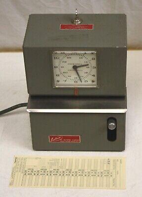 Lathem Model 2126 Heavy Duty Manual Time Clock Electric Works But Needs Refurb